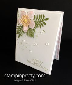 A Botanical Blooms Birthday Wish (Mary Fish, Stampin' Pretty The Art of Simple & Pretty Cards) Birthday Cards For Women, Handmade Birthday Cards, Botanical Flowers, Botanical Gardens, Mary Fish, Hand Made Greeting Cards, Quilling Cards, Card Making Inspiration, Pretty Cards