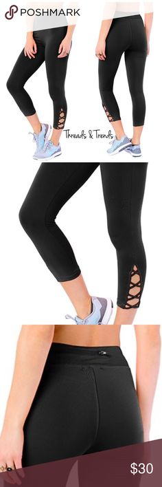 Capri Lattice Leggings Right on trend black Capri leggings with lattice detail. Made of poly/spandex blend. Size S, M, L Threads & Trends Pants Leggings