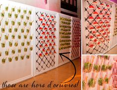 wall of hors d'ouevres. event planning by occasiontoremember.com.