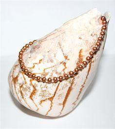 SALE Seed Bead Anklet Czech Silky Copper Tone by CzechBeaderyShop