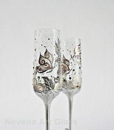 Swarovski Champagne Flutes Wedding | Wedding Glasses Butterfly and Flowers Vanilla Purple Champagne Flutes ...