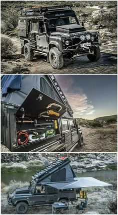 Land Rover Defender Icarus - The Land Rover Defender Icarus is a death-proof custom camper conversion created by South African adventure customizer Alu-Cab. The Icarus features a built-in rooftop tent that opens from the inside, a fold-away stove & lots of side storage, plus ultra-bright Lumeno lights inside & out.: