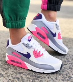 Nike Air Max 90 White Purple Grey Pink - Sneakers Nike - Ideas of Sneakers Nike - Nike Air Max 90 White Purple Wolf Grey and Laser Pink shoes. Stylish Nike sneakers for 2018 available from stylerunner. Cute Sneakers, Sneakers Mode, Air Max Sneakers, Sneakers Fashion, Shoes Sneakers, Tenis Air Max 90, Tenis Nike Casual, Moda Nike, Nike Air Shoes