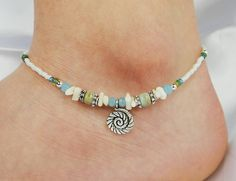 Anklet Ankle Bracelet, Coiled Sea Shell Charm, Light Aqua Blue, Off White Coral, Semi Precious Jasper, Beaded, Customizable, Beach, Vacation