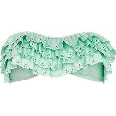 Mint green scalloped bandeau bikini top - bikinis  ($30.00)