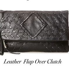 "Incredible leather! Flap Clutch. Price Firm Tonal lacing accents this rich black leather foldover style clutch. One exterior zip pocket. 1 main zip compartment. 1 slip pocket with one zip and 2 slip pockets under foldover. Removable wrist strap. Size- 8 1/2"" (H) 12.25"" (W) 1.5"" (D). Includes dust bag. Christopher Kon  Bags Clutches & Wristlets"