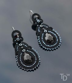 """Paint It Black"" soutache earrings by TheTerezkaD"