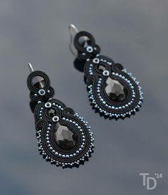 """""""Paint It Black"""" soutache earrings by TheTerezkaD"""