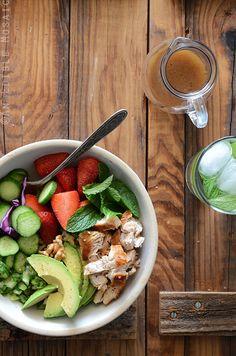 Chicken Salad Bowl with Avocado, Strawberry, and Walnut {Paleo} Recipe