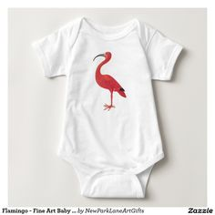 Flamingo - Fine Art Baby Bodysuit  Vintage illustration, featuring a flamingo (Scarlet Ibis), a detail from a 17th century drawing is by the female artist Maria Sibylla Merian.