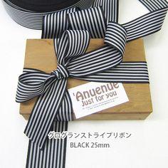 グログランストライプリボン(黒×白)25mm | ハンドメイドマーケット minne