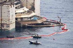 Costa Concordia at salvage site