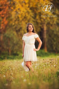 Senior Photos with fall colors at sunset