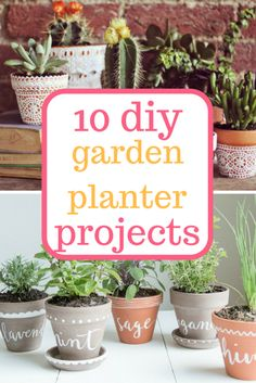 Fast and easy DIY planter projects!   Garden, Gardening, Gardening Projects, Planter Projects, DIY Garden