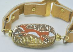 Fox Bracelet, Red Fox Wildlife Jewelry, Animal Bracelet, Leather Foxes Cuff bracelet, Orange Animal Jewelry, Art Gift for Nature Lover by BayMoonDesign on Etsy