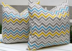 Chevron Decorative Pillows, 20 x 20, Throw Pillow Covers, Accent Pillows, Missoni Style Pillow Covers Summerland Blue Green. $34.00, via Etsy.