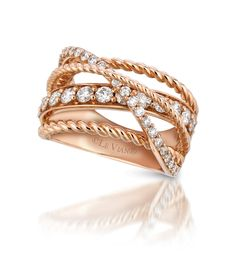 LeVian rose gold and diamond crossover ring
