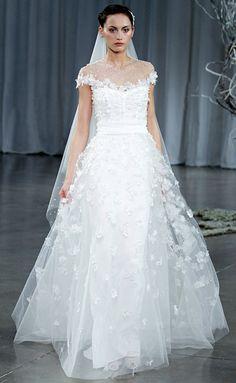 Monique Lhuillier Wedding Dresses: Floral embroidered illusion neckline gown
