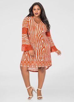 Lace Inset Zebra Hi-Lo Dress Lace Inset Zebra Hi-Lo Dress