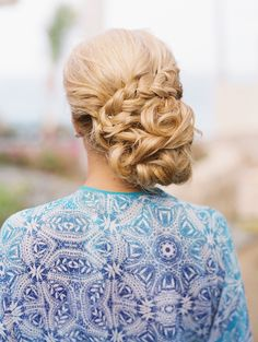 Wedding side updo with a braid.