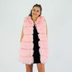 PinkCad Baby Pink Faux Fur Long Gilet With Pu Trim And Side Pockets Pink Faux Fur, Daily Fashion, Outfit Of The Day, Fur Coat, Ootd, Style Inspiration, Pockets, Baby, How To Wear