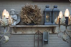 Garden Angels, Patio, Grapevine Wreath, Candle Sconces, Grape Vines, Farmhouse Style, Outdoor Living, Projects To Try, Sweet Home