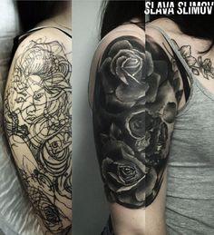 Tattoo Slava Slimov - tattoo's photo In the style Cover-up, Skul Tribal Tattoo Cover Up, Cover Up Tattoos For Men, Black Tattoo Cover Up, Cover Tattoo, Evil Tattoos, Black Tattoos, Tribal Tattoos, Full Sleeve Tattoos, Tattoo Sleeve Designs