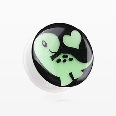 A Pair of Glow in the Dark Adorable Dino Heart Single Flared Plug-Green