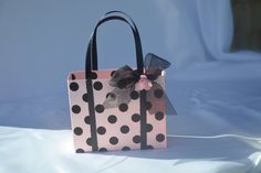 Party favor/gift bag pink with black polka dots by steppnout, $1.00