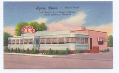 One of many diners that dotted the U.S. highways in the 1940s, Ayre's Diner on Rt. 13 near North Salisbury, MD was one probably famous for the viands it served up to travel-weary tourists; Oh, that diner food!