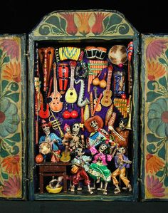 "Retablos by Claudio Jimenez- ""music shop of the dead"""