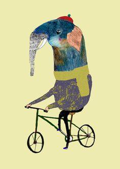 Wall Decor Elephant on Bike Limited edition art by AshleyPercival, $50.00