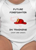 Future Firefighter in training baby clothes on Etsy, $9.99