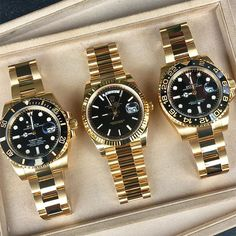 Gold & black ... what's your favorite | http://ift.tt/2cBdL3X shares Rolex Watches collection #Get #men #rolex #watches #fashion http://www.thesterlingsilver.com/product/hoxton-london-mens-sterling-silver-black-leather-inlay-silver-magnetic-clasp-bracelet/