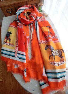 Morpheus Boutique  - Orange Horse Pattern Colorful Cotton Designer Shawl Long Scarf Wrap, CA$30.76 (http://www.morpheusboutique.com/new-arrivals/orange-horse-pattern-colorful-cotton-designer-shawl-long-scarf-wrap/)