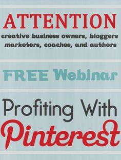 FREE webinar that is going to teach you the ins and outs of Pinterest. You will learn how to  to profit with Pinterest, increase your traffic, reach more targeted buyers, and get more sales!   http://handmadeology.com/pinterestwebinar