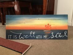 Clemson sunset painting on wood. For sale in my Etsy shop! Wooden Pallet Crafts, Pallet Art, Wooden Pallets, Wood Crafts, 1001 Pallets, Pallet Ideas, Pallet Benches, Pallet Tables, Outdoor Pallet