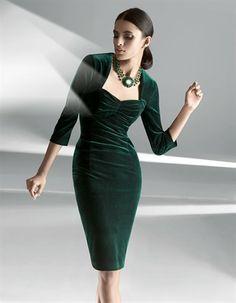 Velvet dress in colors black, dark green - sizes 16/10/8/12/18/14/20 in Madeleine Mode Onlineshop