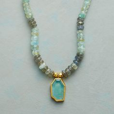 """ANGULAR AQUA NECKLACE--For this Nava Zahavi necklace, the artist rims each one-of-a-kind aquamarine in 24kt gold, backs it with sterling silver, and suspends it from a strand of aquamarine and labradorite. Handmade exclusive. Hook clasp in 24kt gold plate. Approx. 17""""L."""