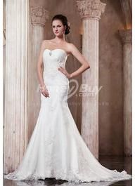 Layer Embroidery Strapless Chapel Organza Dress For Wedding