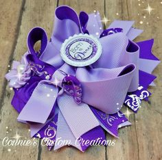 6 inch purple born to dance stacked OTT bow on lined alligator clip https://www.facebook.com/1conniescustomcreations/