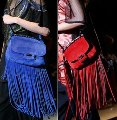 Gucci recommends the fringes, the tassels and bright colors like red, purple and neon blue. Suede is the handbag material of choice but we'll do with precious reptilian skin as well.