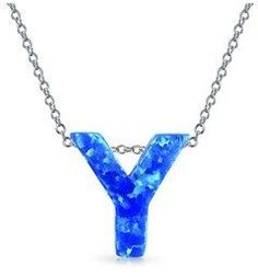 Bling Jewelry Synthetic Blue Opal .925 Silver Letter Y Pendant Necklace.