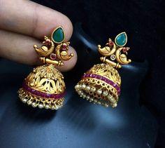 me ns Sterling Silber Zirkonia Ringe Gold Jhumka Earrings, Jewelry Design Earrings, Gold Earrings Designs, Antique Earrings, Gold Jewelry, Gold Mangalsutra Designs, Ear Rings, Silver Rings, Sterling Silver