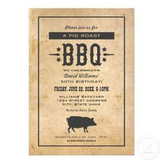 Men's Birthday Party Invitations | Rustic Style Backyard BBQ Pig Roast Theme