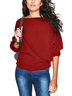 b37a2baaf49 Women Batwing Sleeve Knit Sweater Pullover Loose Jumper Tops Knitwear -  Wine - CB185NY2U80 · Mode TricotManteau ...