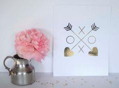 XOXO Shield Gold Foil Print Fashion Art by AllThingsPrettyBlog, $19.95
