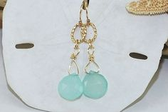 Aqua Chalcedony Earrings Gold Sea Foam Green by ornatetreasures, $46.00