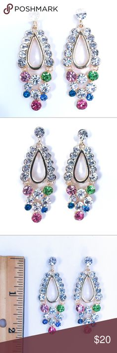 MultiColor Crystal Special Occasion Earrings Special Occasion Jewelry perfect for Prom, Pageant, Cocktail Party, Formal, Ball, Quinceanera, Wedding or other Special Event.  *Shipping is quick, carefully packaged and FREE for 3+ items! (Use the bundle feature for FREE SHIPPING) *Additional discounts are available for multiple item purchases. *Offers and questions are welcome.  Thanks for stopping in. Hope to see you again! :-) Jewelry Earrings