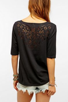 Truly Madly Deeply Laser-Cut V-Neck Tee  #UrbanOutfitters